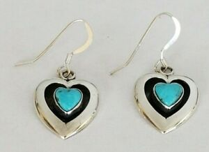 Bear with Feather Pierced Earrings FREE SHIPPING Vintage Sterling Silver Native American Inspired Earrings with Rough Cut Turquoise Beads