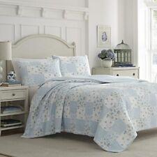 Laura Ashley 3 Piece Blue Reversible Quilt Set Patchwork King -