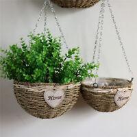 Hanging Flower Pot Chain Grass Rattan Braided Planter Basket Garden Home Decor