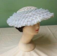 50s Vintage Hat Pale Blue Plate Hat. Wide Brim Ruffles, Wedding