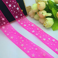 NEW 5 Yards 1'' 25mm Multicolor Organza pattern clarity Ribbon Hair Bow Craft 14
