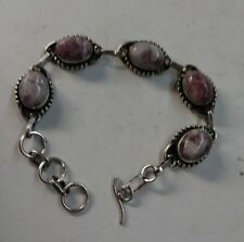 """Sterling Silver Bracelet With Maroon And White Agate Cabachons 8"""""""