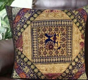 """30"""" GRAY VINTAGE INDIAN SARI BEADED HANDCRAFTED MOTI THROW CUSHION PILLOW COVER"""
