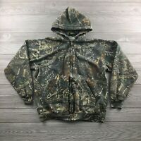Cabelas Mens Medium Camo Hunting Jacket Full Zip Green Hooded Camoflague