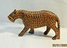 African Wooden Leopard Cheetah Hand Carved Stylized Jaguar Figurine Sculpture
