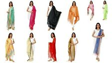 10 PC Dupatta Art Silk Stole Scarf Wrap Indian Hijab Plain Stylish Party Were