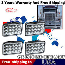"4Pcs 4x6"" 45W LED Headlights For Kenworth Peterbilt Freightliner New Free Ship"