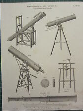 1817 DATED ANTIQUE PRINT ~ ASTRONOMICAL INSTRUMENTS TELESCOPES BREWSTERS SMEATON