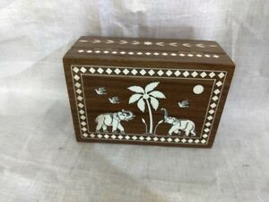 Elephant Inlaid Trinket Box Handmade Rosewood Jewelry Ornament Pill Box New