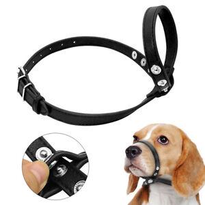 Adjustable Leather Dog Head Halter Loop Bite Bark Control Easy Fit Muzzle S M L