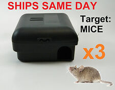 3 x Mouse Mice Trap Enclosed Child Safe Snap Trap Box Bait Station,Pests,Rodents