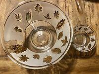Vintage Anchor Hocking Starlyte Glass Bowl  Chip & Dip Set Frosted Gold Leaf