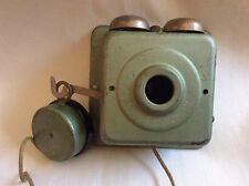 VINTAGE  WALL TELEPHONE BOX BELLS SPEAKER MERIDEN CONNECTICUT PHONE CO W HANDSET