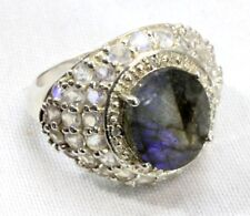 LABRADORITE, 925 STERLING SILVER, Moonstone-Color CZ's Womens Ring - SIZE 7