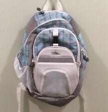 High Sierra Backpack, Book Bag Blue Gray Plaid