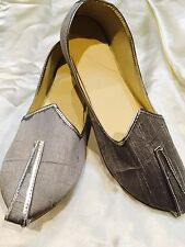 11 Size Mens Indian Grooms Shoes Marjori Juti Jooti Bollywood Khussa Silver S7