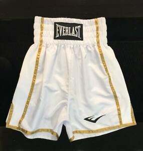 BOXING SHORTS TRUNK PANTS SATIN WITH VELVET FABRIC WHITE GOLD