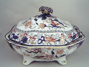 RARE EARLY MASONS ANTIQUE CASKET AND FLOWERS LIDDED TUREEN, circa 1820-40