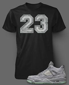 T Shirt to Match KAWS X AIR JORDAN 4 Shoe Custom Pro Club Short Sleeve Black Tee