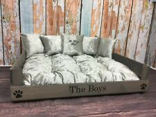 PERSONALISED WOOD CAT BED WITH SILVER CRUSHED VELVET BED AND CUSHIONS