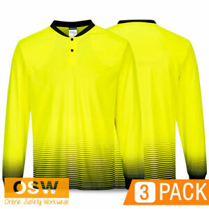 3 x BN Hi Vis Yellow Sublimation LONG Sleeve Work Moisture Wicking Polos MP515