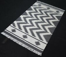 Handmade Grey Color Cotton Area Rug Chevron 3x5 Feet Kilim Area Rug