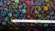 Rainbow Cat & Mouse Outline Fabric sewing 100% cotton, fat quarters C-7037