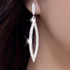 #E556 Wedding Bridal Comfy 6cm CLIP ON screw back EARRINGS Long Teardrop Crystal