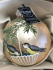 6 x Glass Pearl Bird Christmas Tree Bauble Decorations Sparkle Glitter Finish