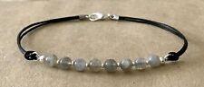 Cord, Silver Plated, Friendship Bracelet Labradorite 4mm Beads, Black Leather