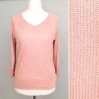 Per Una V Neck Jumper 14 16 Pink Knit 3/4 Sleeve Sweater Stretch Smart Casual