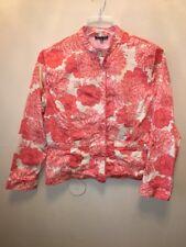 Cynthia Max Womens Xlarge Orange Floral Jacket Mandrin Collar
