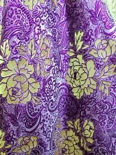 "Purple & Gold Paisley Floral Metallic Brocade Fabric 60""W Tablecloth Drape"