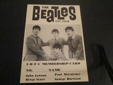 Beatles Fan Club I B F C Membership Card