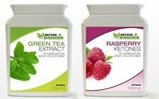 90 Raspberry Ketone & 90 Green Tea Bottle Colon Cleanse Weight Loss Diet Pills