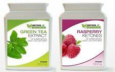 90 Raspberry Ketone & 90 Green Tea Bottle Colon Cleanse Weight Loss Diet Pills