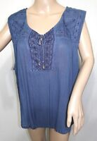 Jennifer Lauren Women Plus Size 1X 3X  Indigo Blue Swing Top Blouse Shirt Cami