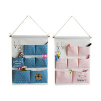 7 Pockets Wall Door Closet Home Hanging Storage Bag Cotton Linen Organizer Pouch