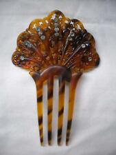 Antique Vtg Pierced Fan Hair Comb Tortoise Celluloid Rhinestones