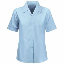 KIDS GIRLS REVERE COLLAR BLOUSES SHIRTS SCHOOL UNIFORM SHORT SLEEVES SMART WEAR