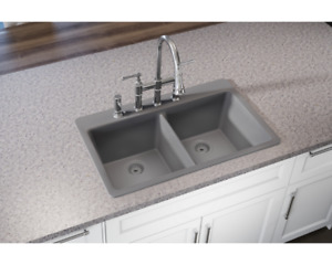 Elkay Premium Quartz Undermount Composite 33 in. Double Bowl Kitchen Sink