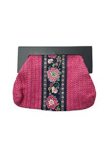 Vera Bradley Pink Blue Wicker Clutch Purse Handbage