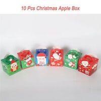 Christmas Apple Boxes DIY Paper Box Xmas Candy Bag Winter Holiday Tool 10pcs New