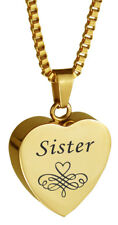 Sister Patterned Gold Heart Urn Pendant Memorial Cremation Jewellery Engraving