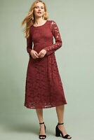 NWT Anthropologie Ottod'Ame Garnet Lace Midi Dress Size 4 Italy red party $220