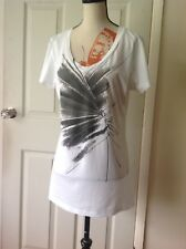 strenesse gabriele strehle Graphics White Top Size-14 In Lovely Condition (C1)