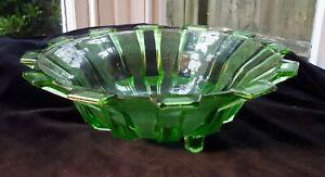 Antique 1930s (Uranium) Green Glass Sunray Fruit/ Serving Bowl. Art Deco Decor