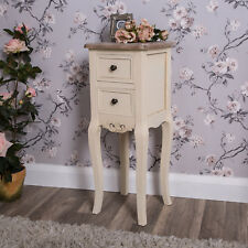 Slim Cream Bedside Lamp Table Shabby Vintage Chic Wooden Home Bedroom Cabinet