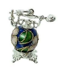 STERLING SILVER & CLOISONNE ANTIQUE TELEPHONE CHARM