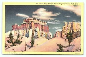1945 Bryce Fairy Temple Bryce Canyon National Park Linen Posted Old Postcard A25